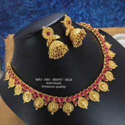 Ruby,Emerald Stones With Pearls&Matte Balls Double Peacock Pendent Design Gold Finish Pendent Necklass Set Buy Online