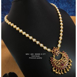 Premium Quality Ruby,Emerald Stones With Golden Balls Heart Shaped Pearl Chain Flower Design Necklass Set Buy Online