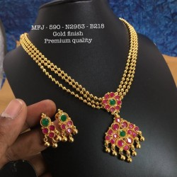 Ruby,Emerald Stones With Golden Balls&Chain With Flower,Screw Type Earrings Design Gold Finished Necklass Set Buy Online