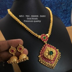 Ruby,Emerald Stones With Pearls Heart Shaped Chain With Pendent,Screw Type Earrings Design Gold Finished Necklass Set Buy Online
