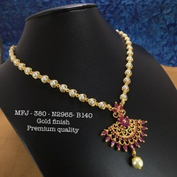 Ruby,Emerald Stones With Pearls Heart Shaped Chain With Pendent,Design Gold Finished Necklass Set Buy Online