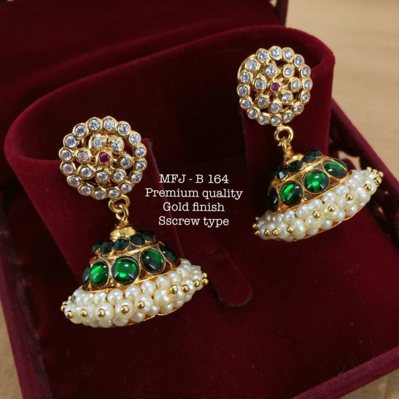 Wight&Red,Green Stones With Pearls Three Layer Screw Type Design Gold Finished Jumka Bharatanatyam Dance And Temple Buy Online