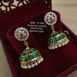Wight,Red,Green Stones With Pearls Three Layer Screw Type Design Gold Finished Jumka Bharatanatyam Dance And Temple Buy Online