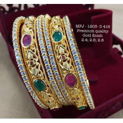2.6 Size CZ,Ruby&Emerald Stoned Heart Shaped Peacock Design Gold Finish Set Bangles Buy Online