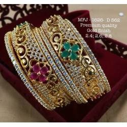 2.8 Size CZ,Ruby&Emerald Stoned Heart Shaped Peacock Design Gold Finish Set Bangles Buy Online