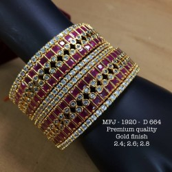 Premium Quality 2.6 Size CZ,Ruby Stoned Two Layer Design Gold Finish Set Bangles Buy Online