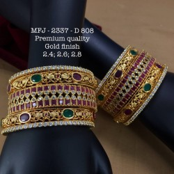 2.4 Size CZ,Ruby&Emerald Stoned Two Layer Peacock Design Gold Finish Set Bangles Buy Online