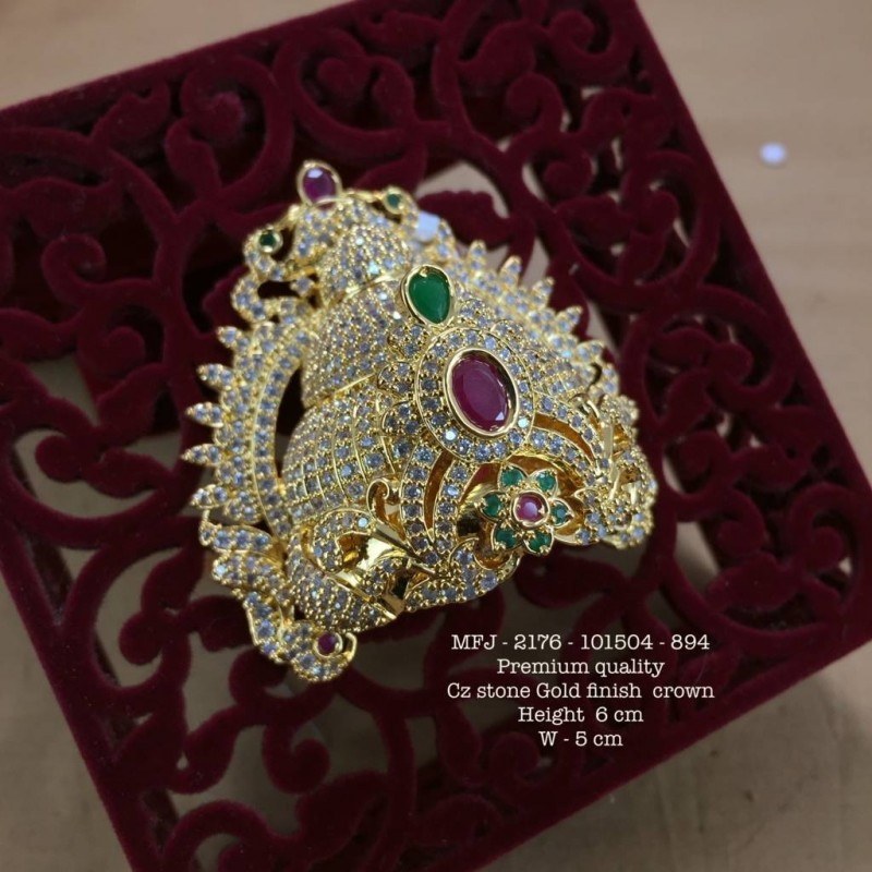 Premium Quality CZ,Ruby&Emerald Flower Design CZ Stoned Gold Finished Crown Set Online
