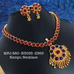 CZ,Ruby&Emerald Stones With Pearls Mango&Peacock,Hangings Design Matte Finish Necklace Set Buy Online