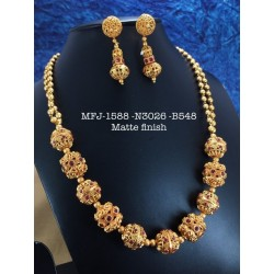 Ruby,Emerald Stones Two Layer Matte Chain&Balls,Design Matte Finished Necklace Set Buy Online