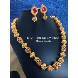 Ruby,Stones Two Layer Matte Chain&Balls,Design Matte Finished Necklace Set Buy Online