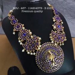 Green Stones With Pearls Chutty Peacock Design Necklace For Bharatanatyam Dance And Temple Buy Online