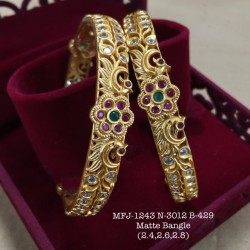 2.8 Size CZ,Ruby&Emerald Stoned Two Layer Peacock Design Gold Finish Set Bangles Buy Online