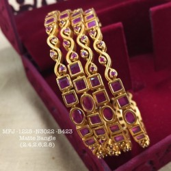 2.6 Size Ruby Stoned Square&Round Design Matte Finish Set Bangles Buy Online