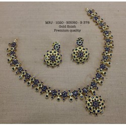 Premium Quality Emerald Stones Flower,Hangings Design Gold Finish Necklace Set Buy Online