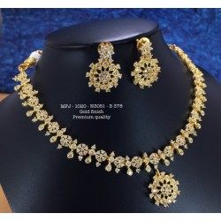 Premium Quality Blue Stones Flower,Hangings Design Gold Finish Necklace Set Buy Online