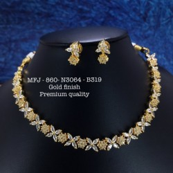 Premium Quality Emerald Stones Flower,Stud Design Gold Finish Necklace Set Buy Online