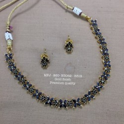 Premium Quality Blue Stones Flower,Stud Design Gold Finish Necklace Set Buy Online