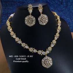 Premium Quality Black Stones Flower,Stud Design Gold Finish Necklace Set Buy Online