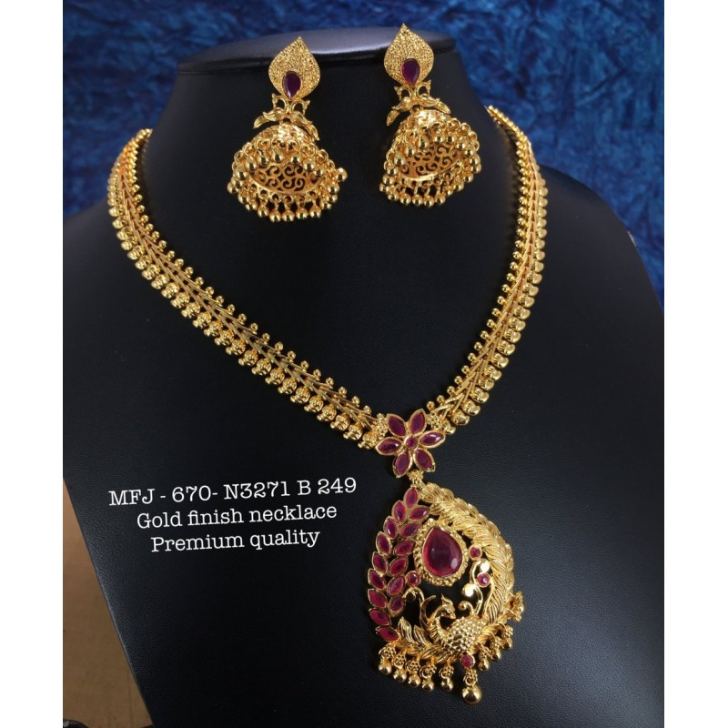 35ad404885 Premium Quality Ruby Stones Matte Balls And Peacock,With Jumka Design Gold  Finish Necklace Set Buy Online
