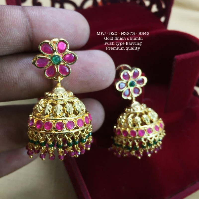 f87df8efe7 ... Premium Quality Ruby&Emerald Stones Flower With Jumka Design Gold  Finish Earrings Set Buy Online. New