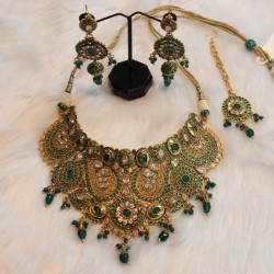 Green colour antic kundan...