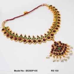 Temple Necklace-Kempu Stone Necklace-Dance Jewellery