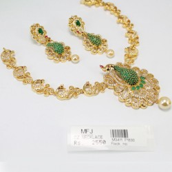 CZ, Ruby & Emerald Stone Necklace Online