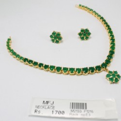 CZ & Emerald Stone Necklace Online