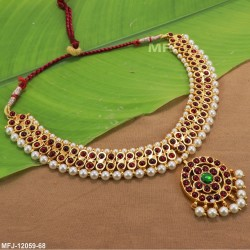 Kempu stone Traditional Design Necklace -Temple Necklace-Dance Jewellery Online