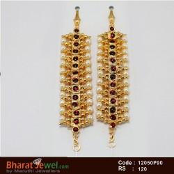 Kempu Stone Matel Set - Bharatanatyam Jewellery Online