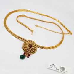 1GM Gold Finish CZ & Ruby Stone Necklace Online