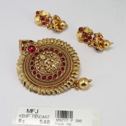 Antique Peacock Design Pendant With Kempu Stones Online