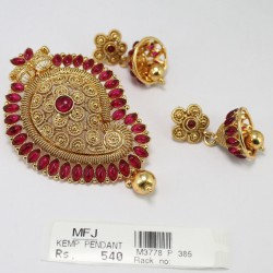 Antique Lakshmi Design Pendant With Kempu Stones Online