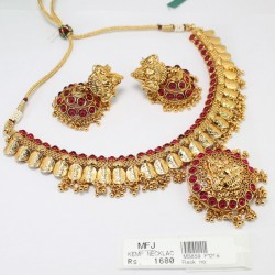 Mat Finish Ruby Stones Necklace Set Online