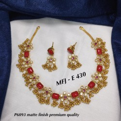 Cz&Red Stones With Flower...