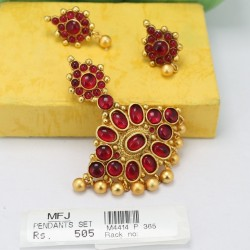 Ruby Stones Mat Finish Pendant Set Online
