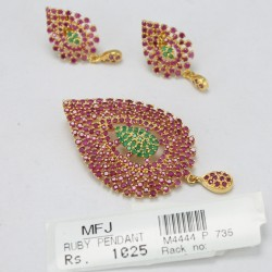 Ruby & Emerald Stones Mat Finish Designer Pendant Set Online