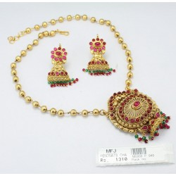 Mat Finish Peacock, Leaf & Flowers Design With Kempu Stones Necklace Set Online