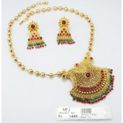 Kempu Stones With Balls Design Antique Necklace Set Online
