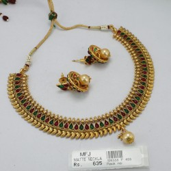 CZ, Ruby & Emerald Stones Designer Choker Necklace Set Online