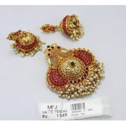 Ruby Stones Leaf Design Mat Finish Pendant set Online