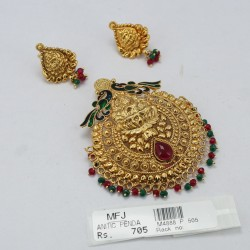 Mat Finish Lakshmi Design Pendant Set With Ruby Stones Online