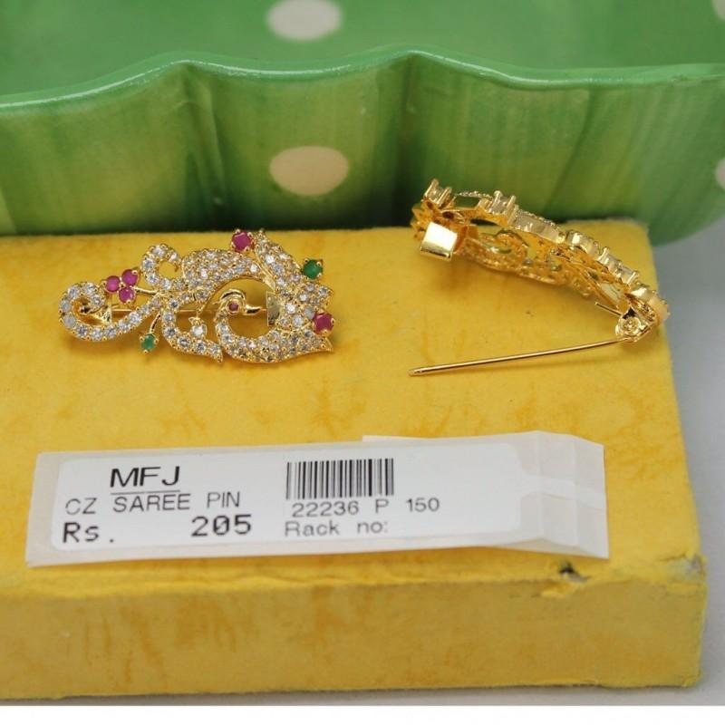 CZ, Ruby & Emerald Stones Flower & Leaf Design Saree Pin Online