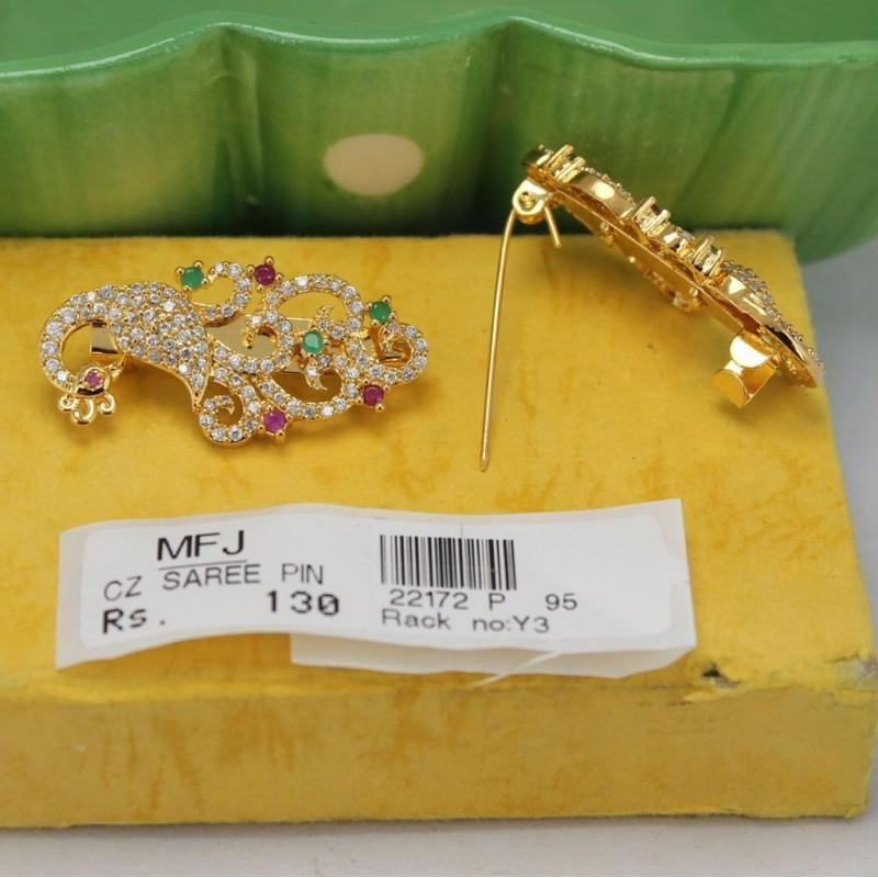 CZ, Ruby & Emerald Stones Flower & Peacock Design Saree Pin Online