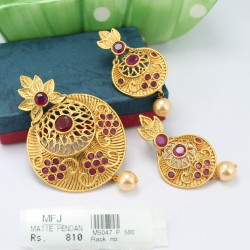 CZ & Ruby Stones Designer Earrings Online