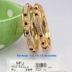 1.12 Size CZ & Ruby Stones Kids Bangles Online