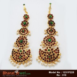 Temple Kempu Stone Earrings Bharatanatyam Dance Jewellery Online