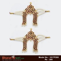 Kempu Stones Matel & Earrings Set - Bharatanatyam Jewellery Online