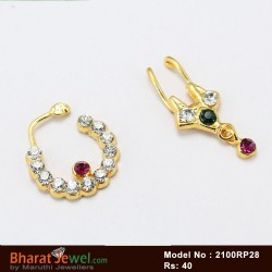 White & Red Stones Nose Ring Nath Bullak Bharatanatyam Dance Ornaments Online